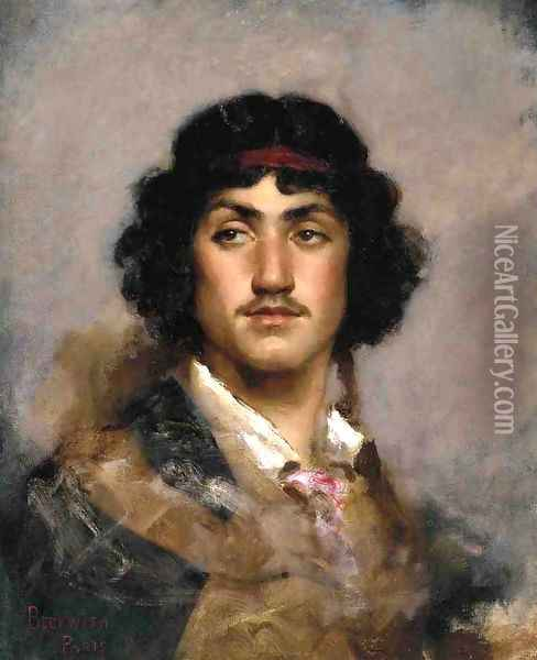 Portrait of Tito Oil Painting - James Carroll Beckwith