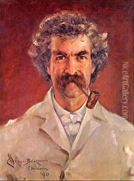 Portrait of Mark Twain Oil Painting - James Carroll Beckwith