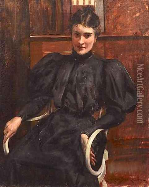 Portrait of a Lady Oil Painting - James Carroll Beckwith