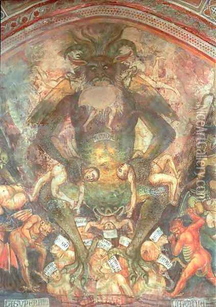 The Last Judgement, detail of the Leviathan, c.1394 Oil Painting - Taddeo Di Bartolo