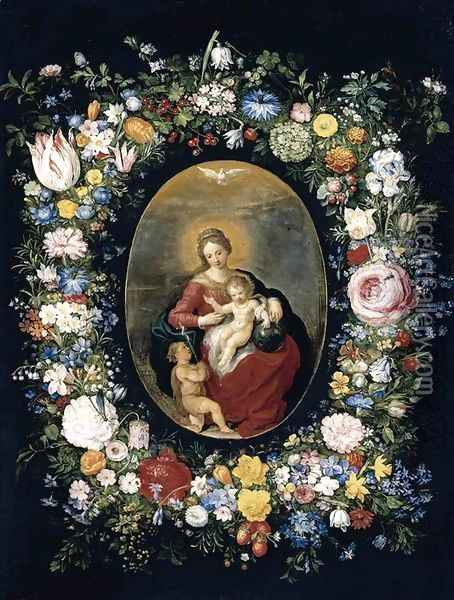Virgin and Child with Infant St John in a Garland of Flowers 1630s Oil Painting - Jan Brueghel the Younger
