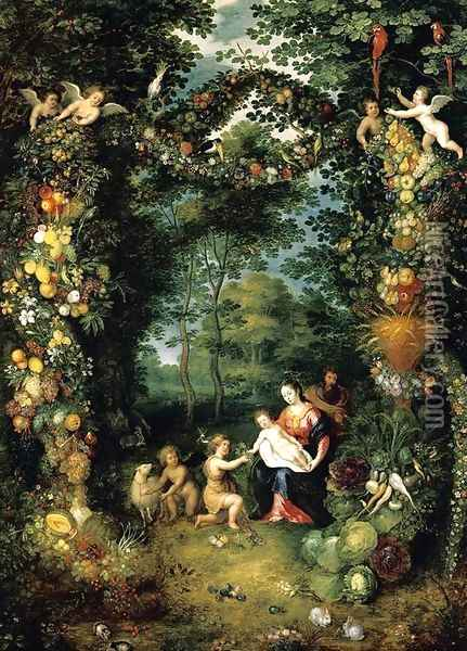 The Holy Family with St John 1630s Oil Painting - Jan Brueghel the Younger