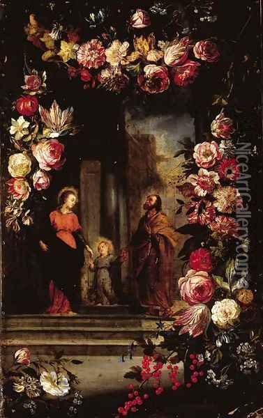 A garland of flowers surrounding The Holy Family Oil Painting - Jan Brueghel the Younger