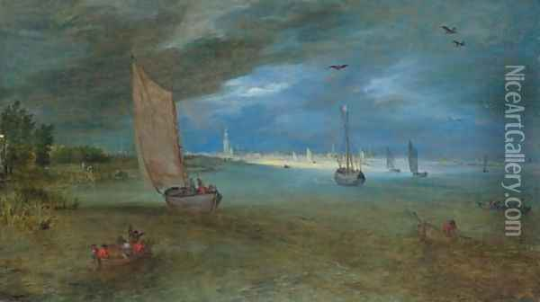 A view of the Scheldt with Antwerp beyond Oil Painting - Jan Brueghel the Younger