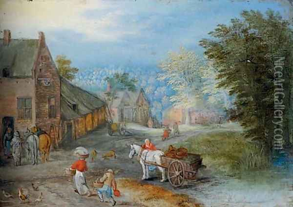 A village street with figures leading a horse and cart Oil Painting - Jan Brueghel the Younger