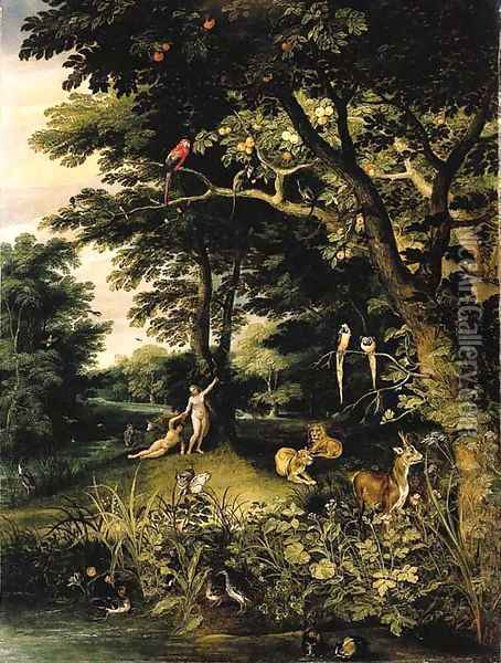 Adam and Eve in the Garden of Eden Oil Painting - Jan Brueghel the Younger