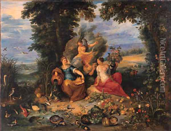 The Four Elements in a wooded coastal landscape Oil Painting - Jan Brueghel the Younger