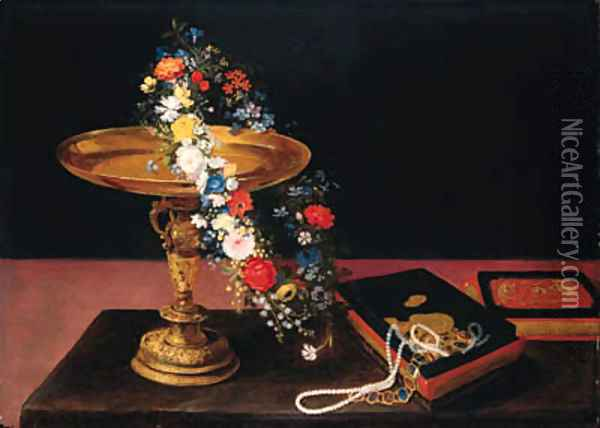 A garland of mixed flowers around a silver gilt tazza and a casket on a table Oil Painting - Jan Brueghel the Younger