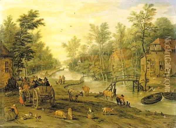 A wooded river landscape with travellers in horse-drawn carts and livestock Oil Painting - Jan Brueghel the Younger