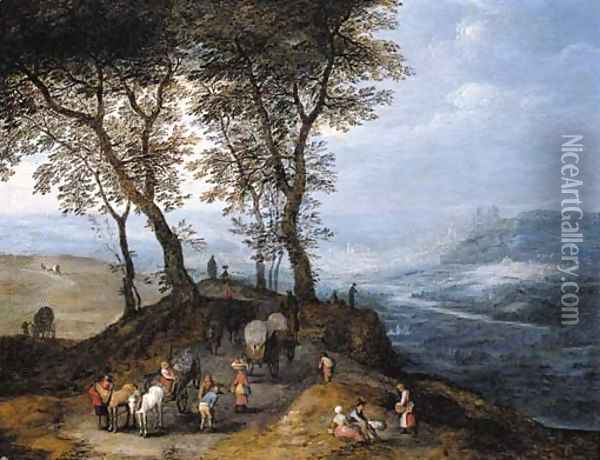 An extensive landscape with travellers on a path overlooking a valley, a city beyond Oil Painting - Jan Brueghel the Younger