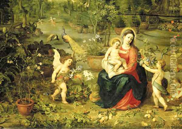 The Madonna and Child seated in a garden with putti, birds and animals Oil Painting - Jan Brueghel the Younger