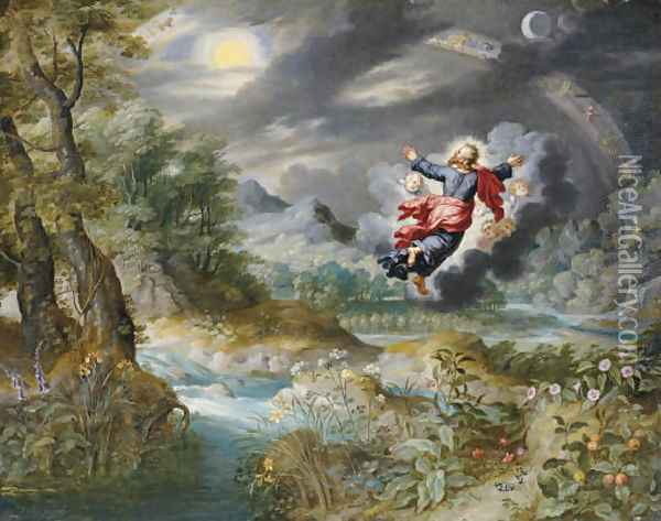God creating the Sun, the Moon and the Stars in the Firmament Oil Painting - Jan Brueghel the Younger