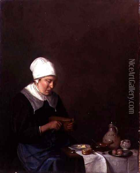 A Woman Seated at a Table Cutting a Slice of Cheese Oil Painting - Esaias Boursse