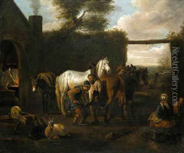 At the Forge Oil Painting - Pieter van Bloemen
