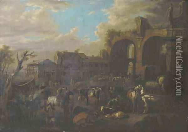 Travellers on horseback by a blacksmith with peasants and their cattle near the ruin of the Basilica of Constantine and the San Francesco Romana Oil Painting - Pieter van Bloemen