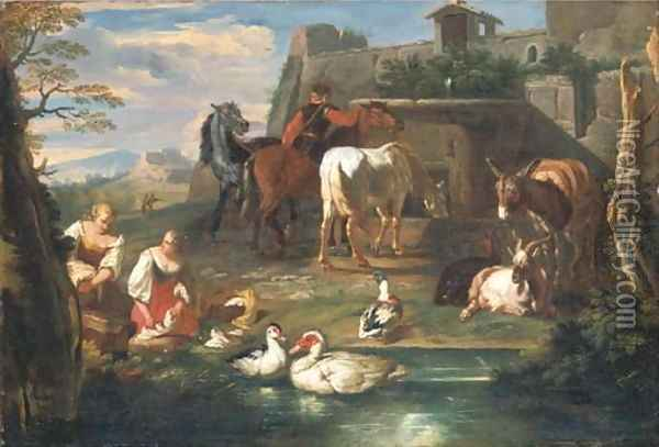 Washerwomen at a pond with ducks, goats and a donkey, a rider watering horses at a fountain and a landscape beyond Oil Painting - Pieter van Bloemen