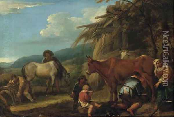 A peasant milking a cow with a groom and horse and other peasants by a hut, a landscape beyond Oil Painting - Pieter van Bloemen
