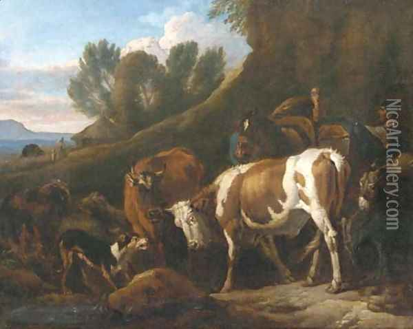 A peasant with cows, a mule, sheep, a donkey and a turkey in an Italianate landscape Oil Painting - Pieter van Bloemen