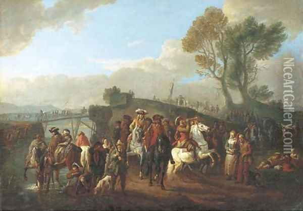 An Italianate river landscape with cavalry on the march Oil Painting - Pieter van Bloemen