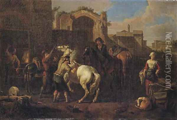 A blacksmith's forge with a blacksmith branding a horse Oil Painting - Pieter van Bloemen