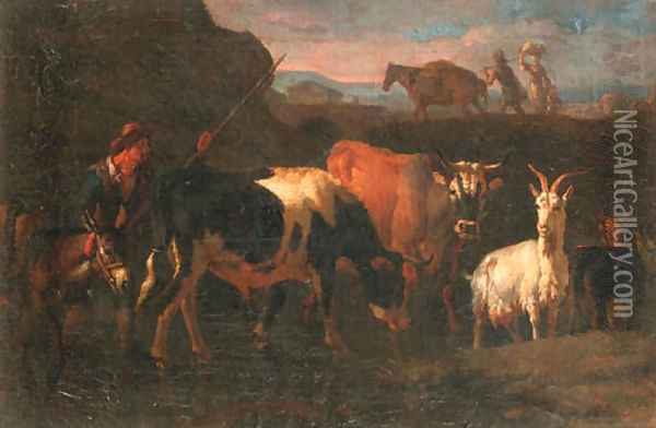 A cowherd with cattle, a goat and a donkey in an Italianate landscape Oil Painting - Pieter van Bloemen