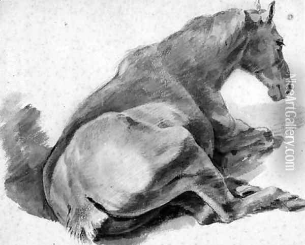 A Horse lying down, seen from the back Oil Painting - Pieter van Bloemen