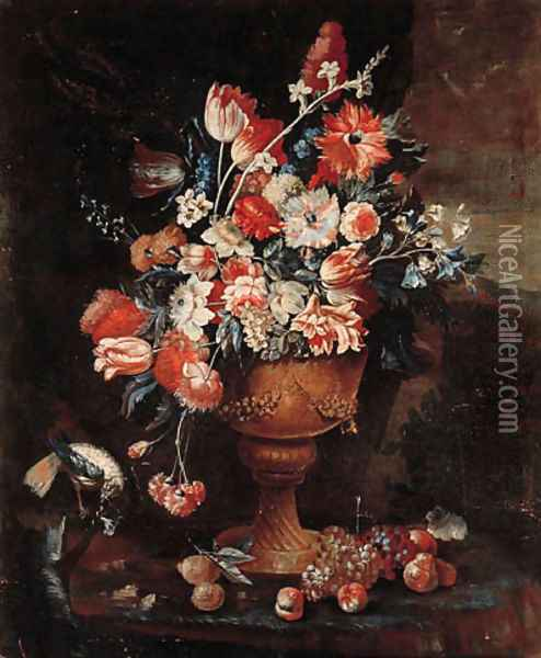 Flowers in a gilt urn with a songbird and fruit strewn on the ground in a landscape Oil Painting - Jan-baptist Bosschaert