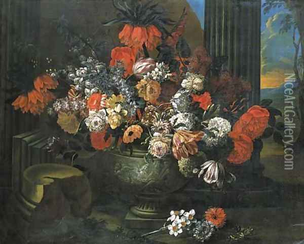 Tulips, roses, carnations and other flowers in a sculpted vase before a column, a landscape beyond Oil Painting - Jan-baptist Bosschaert