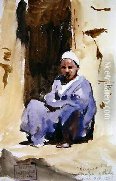 A Seated Boy in a Temple at Philae, 1874 Oil Painting - F. A. Bridgeman