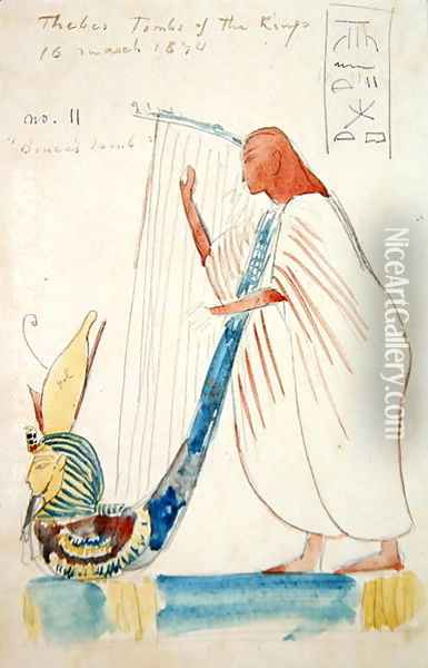 Wall Painting of a Harpist in the Tomb of Ramesses III at Thebes, 1874 Oil Painting - F. A. Bridgeman