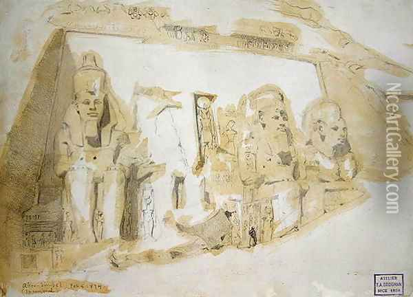 Four colossal Statues of Ramesses II (1279-1213 BC) at the Great Temple of Abu Simbel, 1874 Oil Painting - F. A. Bridgeman