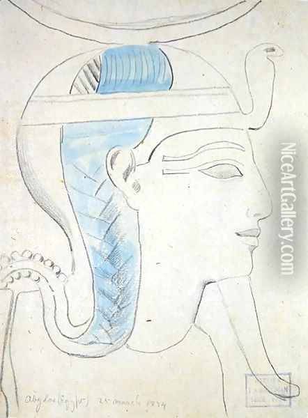 Study of a Relief of the Head of the God Khonsu in the Temple of Seti I, Abydos, 1874 Oil Painting - F. A. Bridgeman