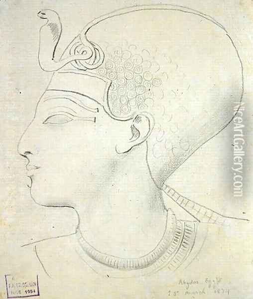 Study of a Relief of the Head of Seti I (1394-1279 BC) in the Temple of Seti I, Abydos, 1874 Oil Painting - F. A. Bridgeman