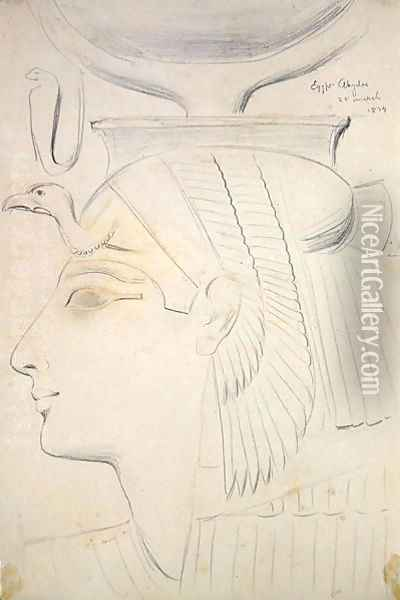 Study of a Relief of a Goddess in the Temple of Seti I, Abydos, 1874 Oil Painting - F. A. Bridgeman