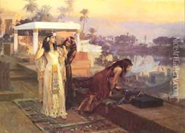 1896 Cleopatra on the terraces of Philae Oil Painting - F. A. Bridgeman
