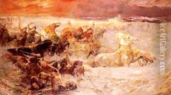 Pharaoh s Army Engulfed By The Red Oil Painting - F. A. Bridgeman