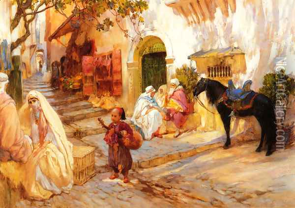 A Street in Algeria Oil Painting - F. A. Bridgeman