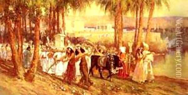 An Egyptian Procession Oil Painting - F. A. Bridgeman