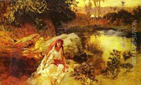AT THE OASIS Oil Painting - F. A. Bridgeman
