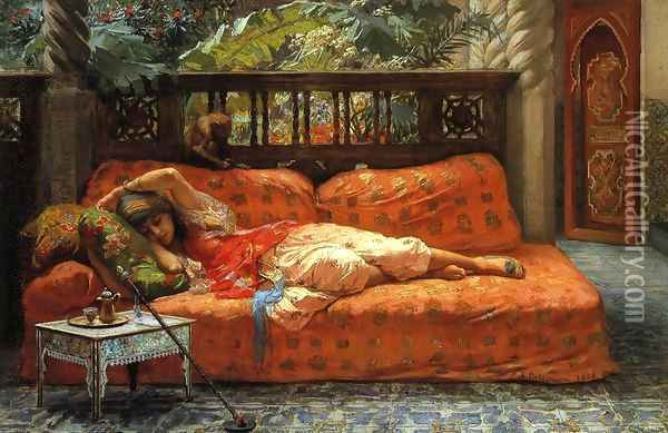 The Siesta Oil Painting - F. A. Bridgeman
