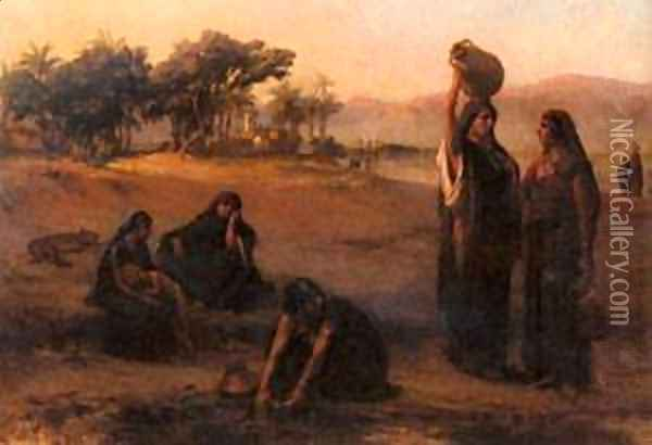 Women Drawing Water From The Nile Oil Painting - F. A. Bridgeman