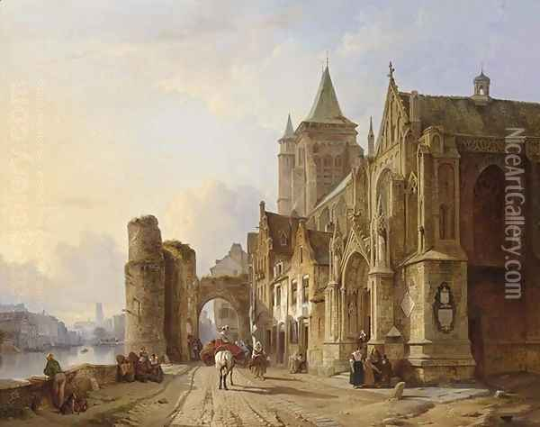 Figures in the streets of a riverside town Oil Painting - Francois Antoine Bossuet