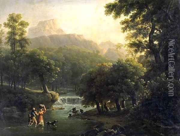 Landscape with Figures Crossing a River Oil Painting - Jean-Joseph-Xavier Bidauld
