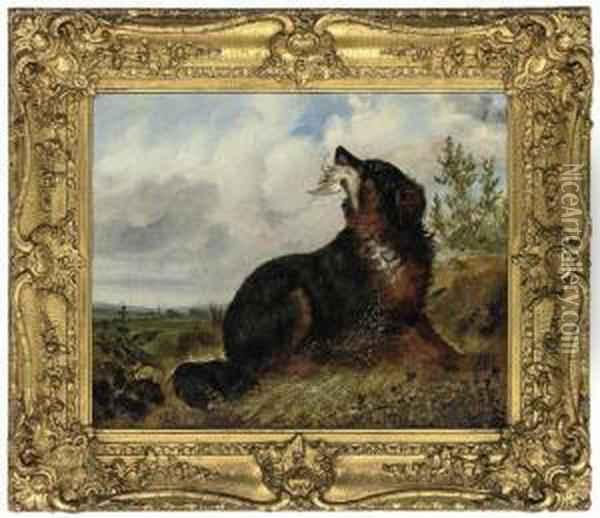 A Gun Dog Retrieving For It's Master Oil Painting - George Armfield
