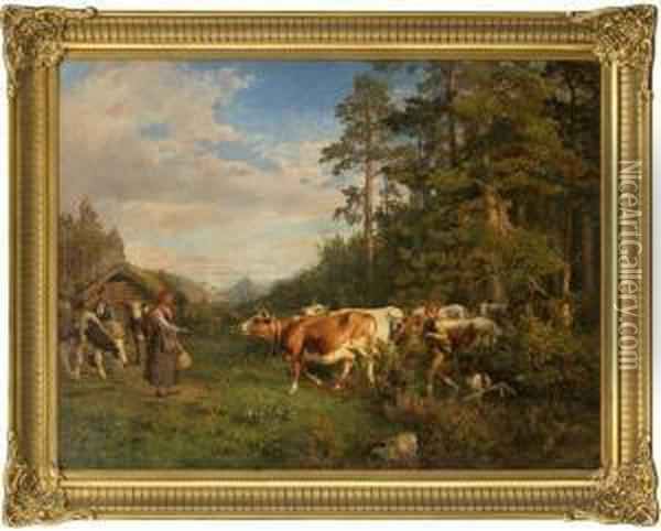 At The Mountainfarm Oil Painting - Anders Monsen Askevold