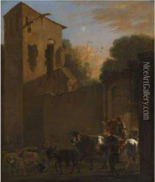 Travellers Leaving A Town Oil Painting - Jan Asselyn