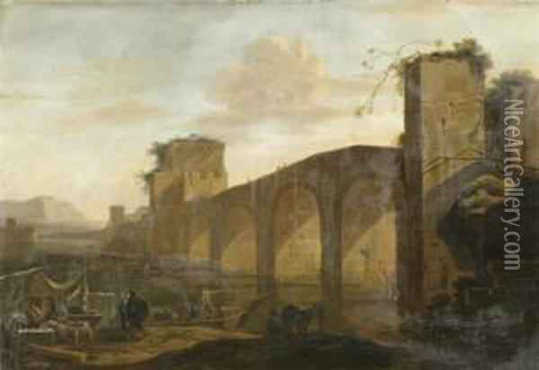 Landscape With Tiber And The Ponte Molle And A Market In Foreground Oil Painting - Jan Asselyn
