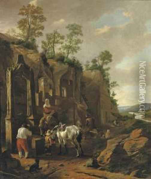 An Italianate Landscape With Peasants By A Well Near Ruins Oil Painting - Jan Asselyn