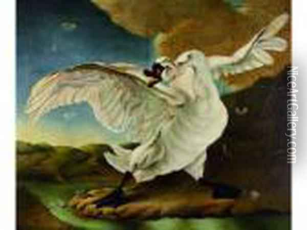Le Cygne Menace Defend La Hollande. Oil Painting - Jan Asselyn