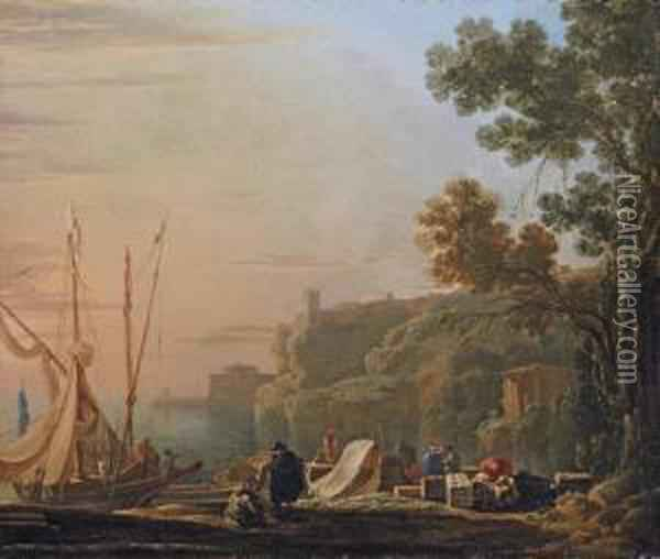 A Mediterranean Coastal Inlet With Merchants Unloading Boats, A Temple Beyond Oil Painting - Jan Asselyn